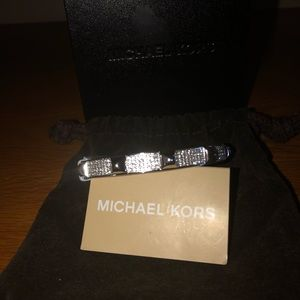 NWT  Michael Kors Pave Hinged Bangle Bracelet